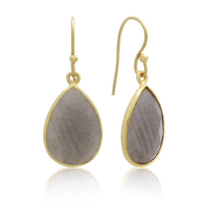 12 Carat Labradorite Pear Shape Earrings in 18K Gold Overlay by S