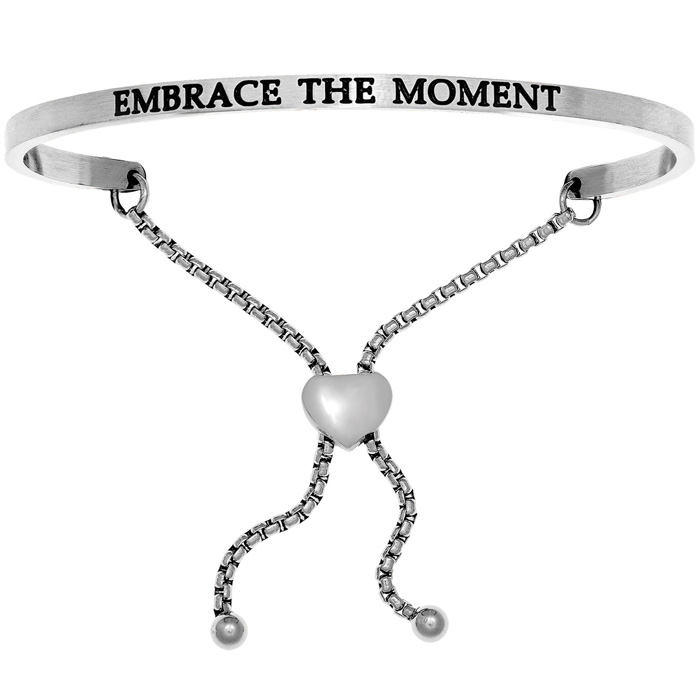 "Silver ""EMBRACE THE MOMENT"" Adjustable Bracelet, 7 Inch by SuperJ"