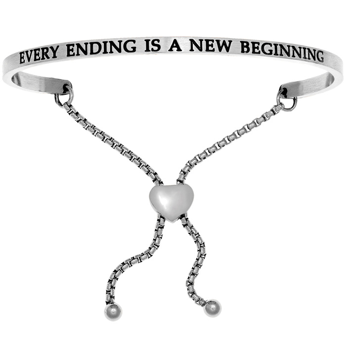 "Silver ""EVERY ENDING IS A NEW BEGINNING"" Adjustable Bracelet, 7 I"