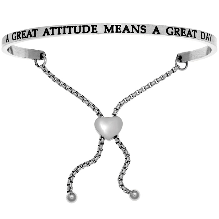 "Silver ""A GREAT ATTITUDE MEANS A GREAT DAY"" Adjustable Bracelet,"