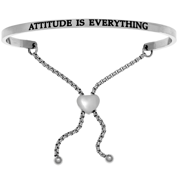 """Silver """"ATTITUDE IS EVERYTHING"""" Adjustable Bracelet, 7 Inch by SuperJeweler"""