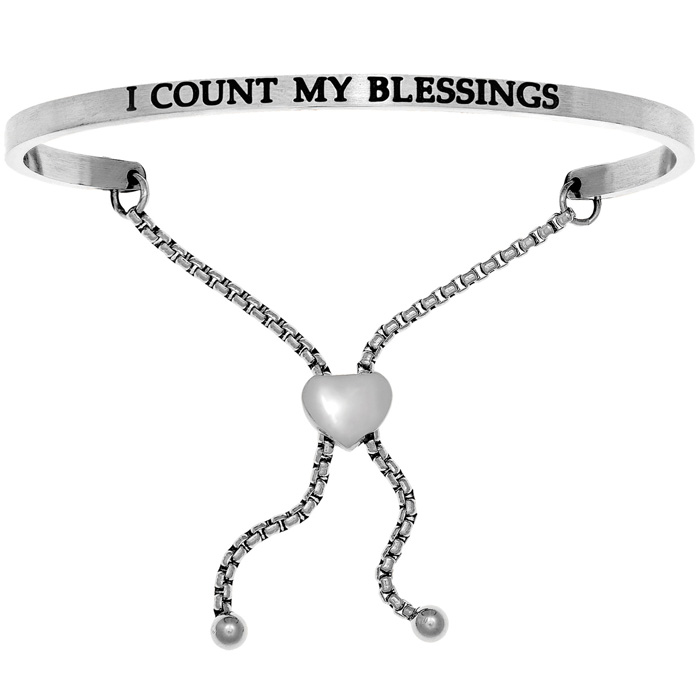 """Silver """"I COUNT MY BLESSINGS"""" Adjustable Bracelet, 7 Inch by SuperJeweler"""