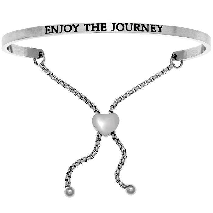 "Silver ""ENJOY THE JOURNEY"" Adjustable Bracelet, 7 Inch by SuperJe"