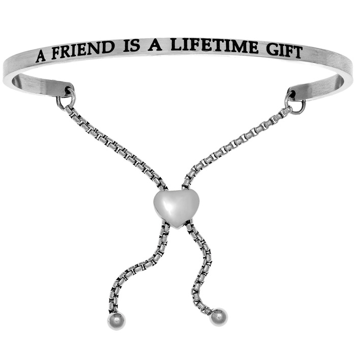 "Silver ""A FRIEND IS A LIFETIME GIFT"" Adjustable Bracelet, 7 Inch"