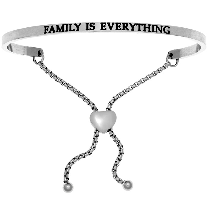 "Silver ""FAMILY IS EVERYTHING"" Adjustable Bracelet, 7 Inch by Supe"
