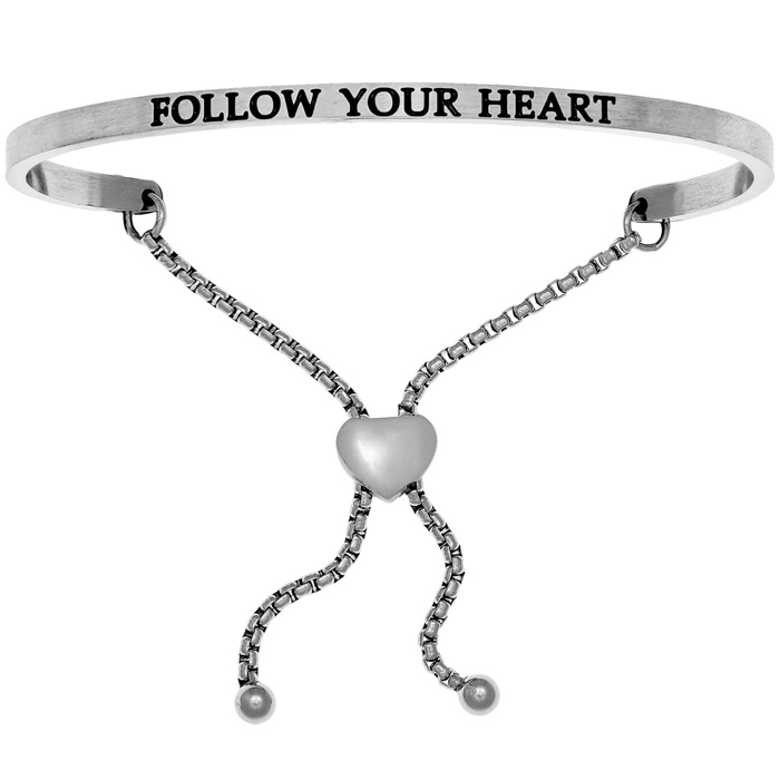 "Silver ""FOLLOW YOUR HEART"" Adjustable Bracelet, 7 Inch by SuperJe"