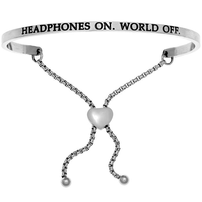 "Silver ""HEADPHONES ON.WORLD OFF."" Adjustable Bracelet"