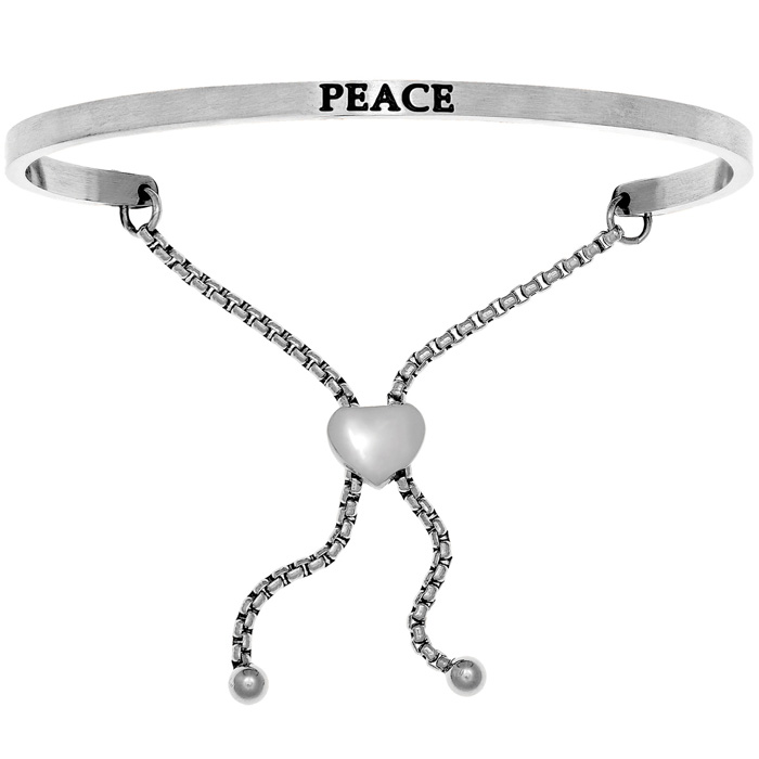 "Silver ""PEACE"" Adjustable Bracelet, 7 Inch by SuperJeweler"