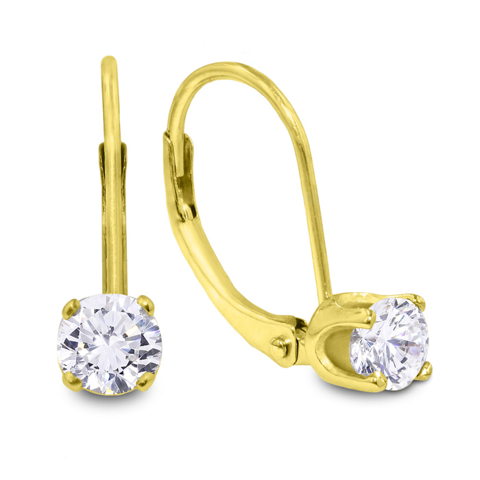 1/2 Carat Diamond Drop Earrings in 14k Yellow Gold (1.1 g), I/J b
