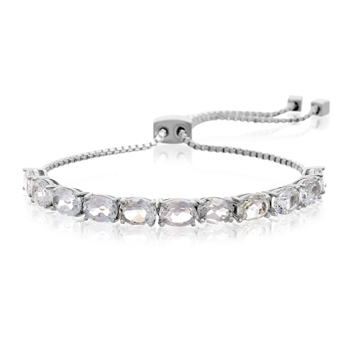 5 1/2 Carat White Topaz Adjustable Bolo Slide Tennis Bracelet by