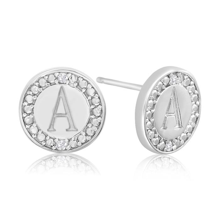 """""""A"""" Initial Diamond Stud Earrings In Sterling Silver"""