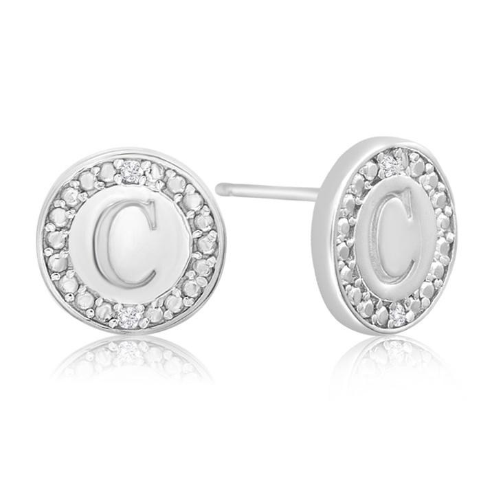 """C"" Initial Diamond Stud Earrings In Sterling Silver"