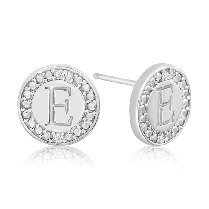 """""""E"""" Initial Diamond Stud Earrings In Sterling Silver"""