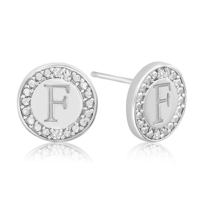 """F"" Initial Diamond Stud Earrings in Sterling Silver, J/K by SuperJeweler"