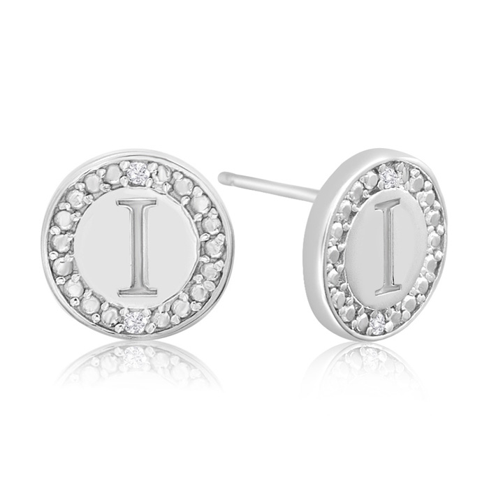 """I"" Initial Diamond Stud Earrings in Sterling Silver, J/K by Supe"
