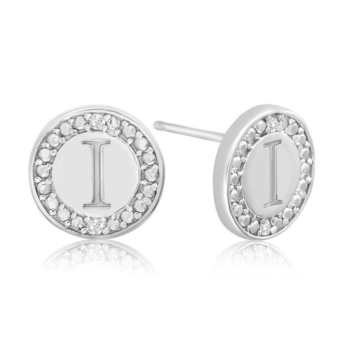 """""""I"""" Initial Diamond Stud Earrings in Sterling Silver, J/K by SuperJeweler"""