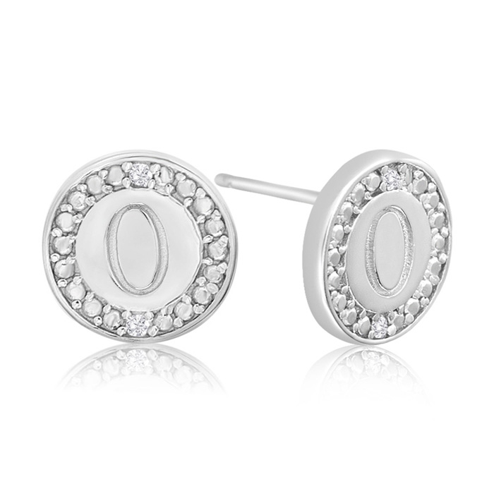 """O"" Initial Diamond Stud Earrings in Sterling Silver, J/K by Supe"