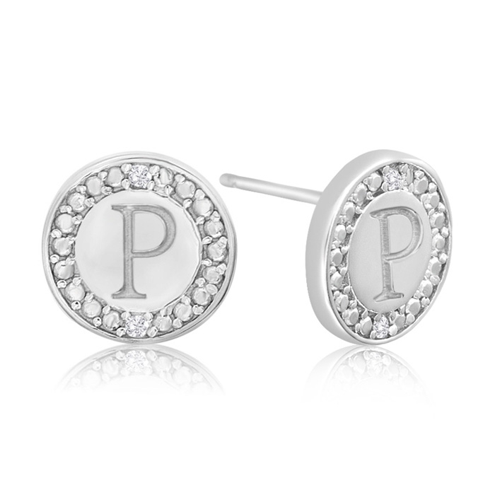 """P"" Initial Diamond Stud Earrings in Sterling Silver, J/K by Supe"