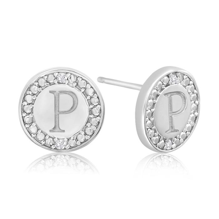 """P"" Initial Diamond Stud Earrings in Sterling Silver, J/K by SuperJeweler"