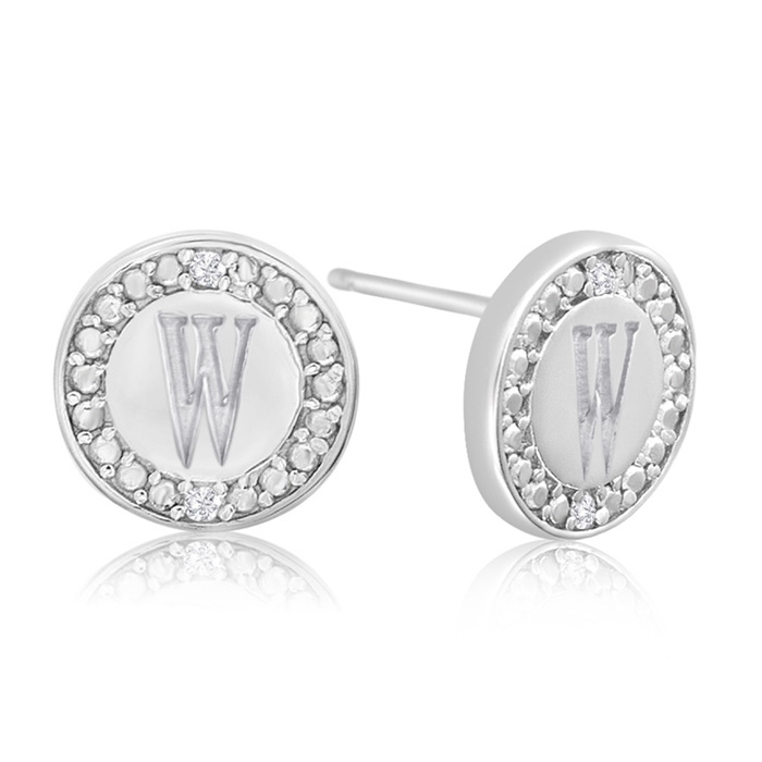 """W"" Initial Diamond Stud Earrings in Sterling Silver, J/K by Supe"