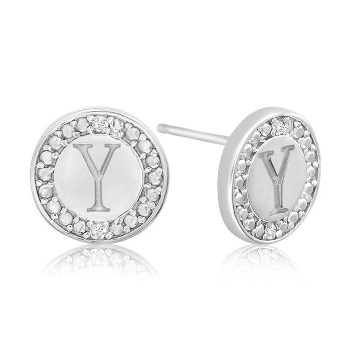 """Y"" Initial Diamond Stud Earrings in Sterling Silver, J/K by Supe"
