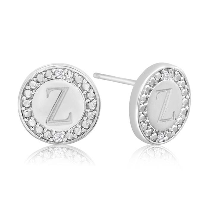 """""""Z"""" Initial Diamond Stud Earrings in Sterling Silver, J/K by Supe"""