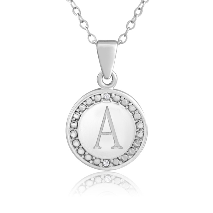 A Initial Necklace With 2 Diamonds In Sterling Silver With 18 Inch Chain
