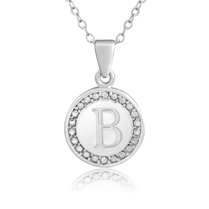 B Initial Diamond Necklace in Sterling Silver, 18 Inches, J/K by