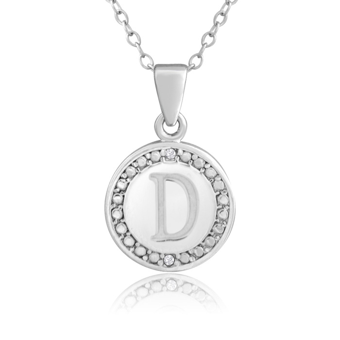 """D"" Initial Diamond Necklace in Sterling Silver, 18 Inches, J/K b"