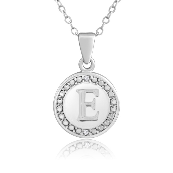 """E"" Initial Diamond Necklace in Sterling Silver, 18 Inches, J/K b"