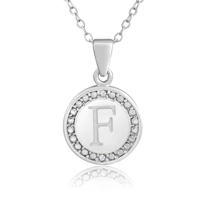 """""""F"""" Initial Diamond Necklace in Sterling Silver, 18 Inches, J/K b"""