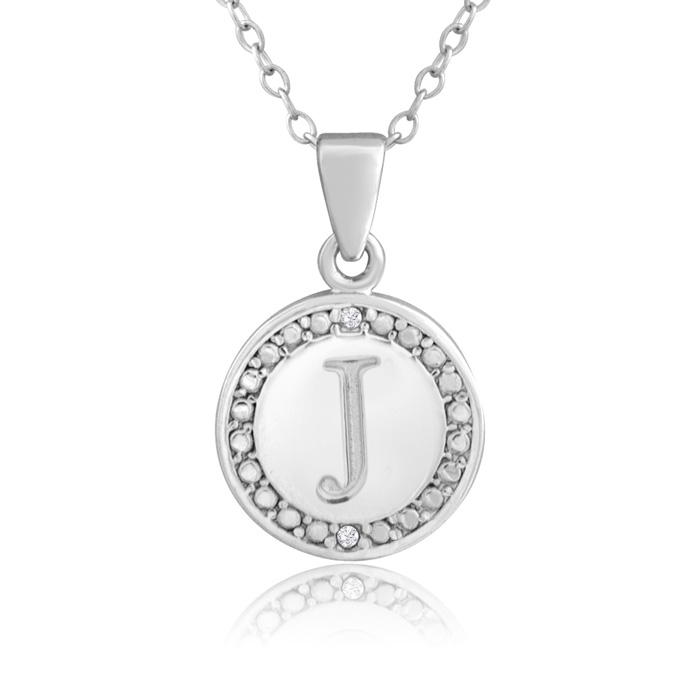 """""""J"""" Initial Diamond Necklace in Sterling Silver, 18 Inches, J/K b"""