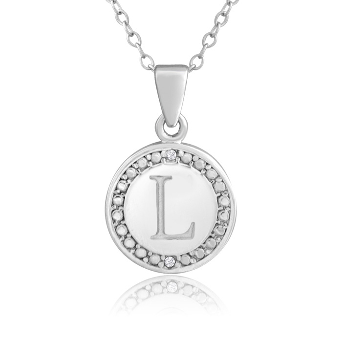 """L"" Initial Diamond Necklace in Sterling Silver, 18 Inches, J/K b"