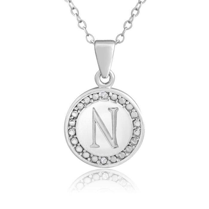 """N"" Initial Diamond Necklace in Sterling Silver, 18 Inches, J/K b"