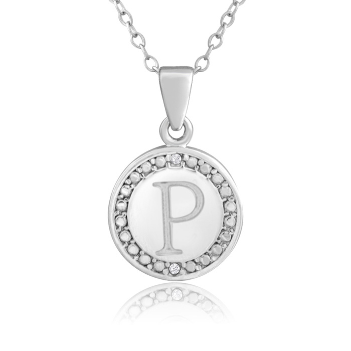 """P"" Initial Diamond Necklace in Sterling Silver, 18 Inches, J/K b"