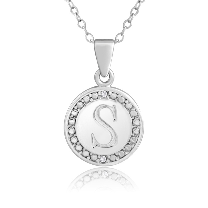 """""""S"""" Initial Diamond Necklace in Sterling Silver, 18 Inches, J/K b"""