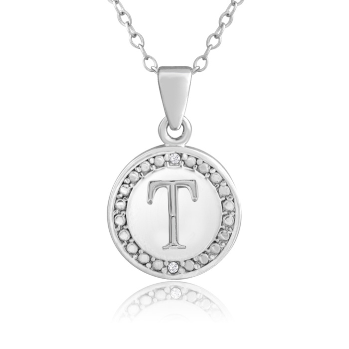 """T"" Initial Diamond Necklace in Sterling Silver, 18 Inches, J/K b"