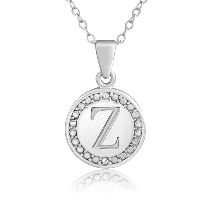 """Z"" Initial Diamond Necklace in Sterling Silver, 18 Inches, J/K b"
