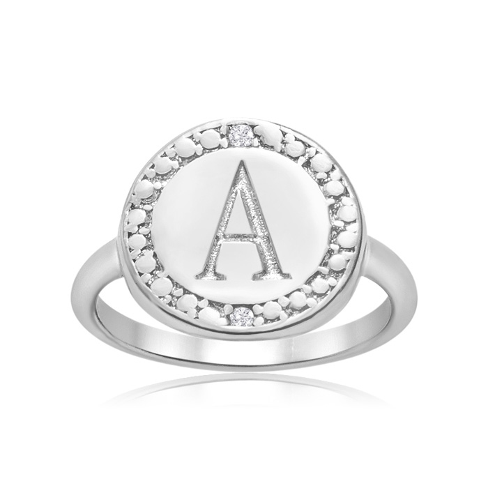 """A"" Initial Diamond Ring in Sterling Silver, J/K by SuperJeweler"