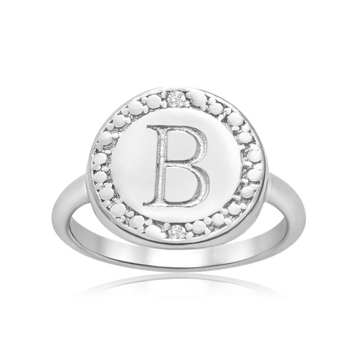 """B"" Initial Diamond Ring in Sterling Silver, J/K by SuperJeweler"