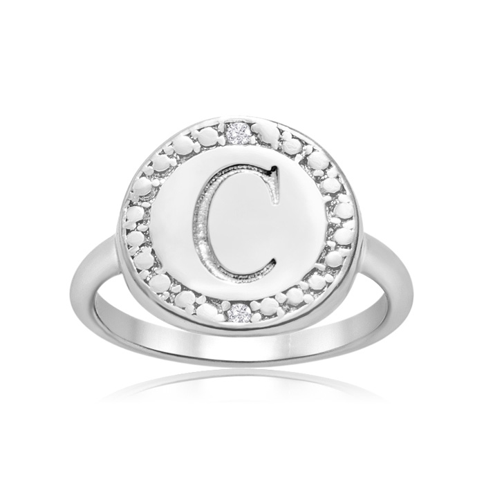 """""""C"""" Initial Diamond Pinkie Ring In Sterling Silver"""