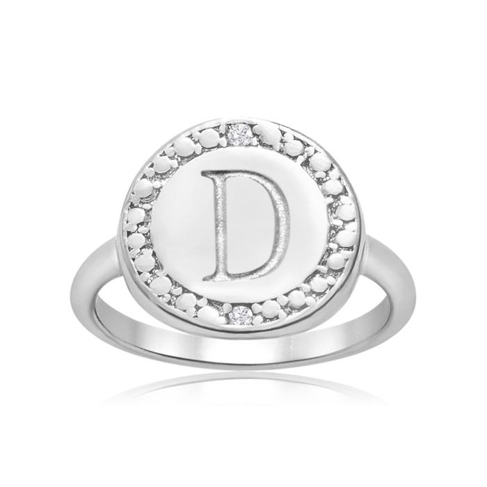 """D"" Initial Diamond Ring in Sterling Silver, J/K by SuperJeweler"