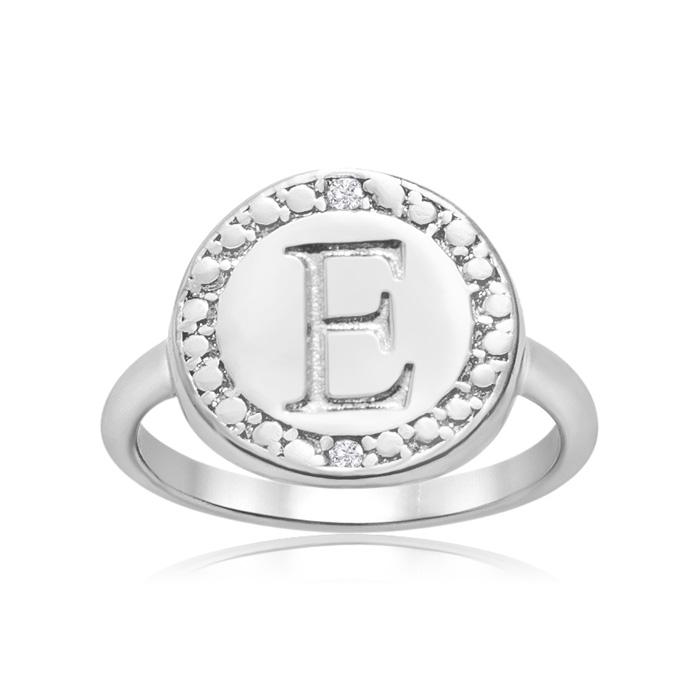 """E"" Initial Diamond Ring in Sterling Silver, J/K by SuperJeweler"