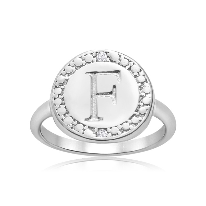 """""""F"""" Initial Diamond Pinkie Ring In Sterling Silver"""