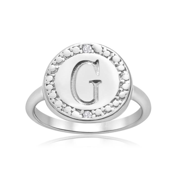 """G"" Initial Diamond Ring in Sterling Silver, J/K by SuperJeweler"