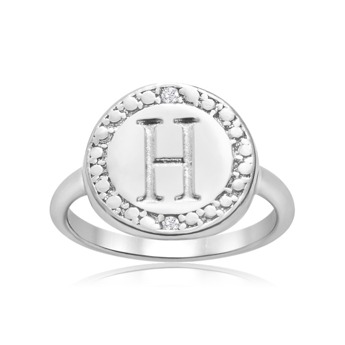"""""""H"""" Initial Diamond Pinkie Ring In Sterling Silver"""
