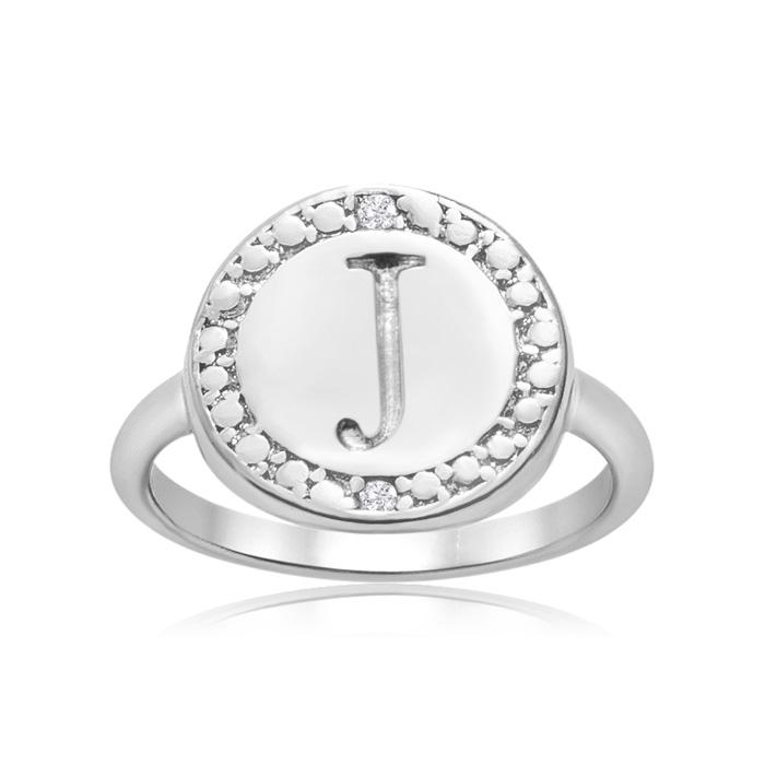 """""""J"""" Initial Diamond Ring in Sterling Silver, J/K by SuperJeweler"""