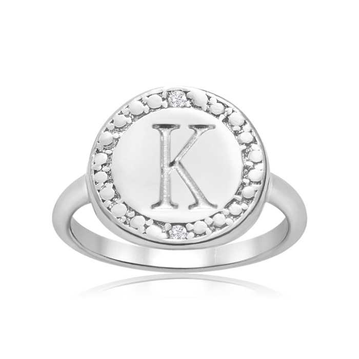 """""""K"""" Initial Diamond Pinkie Ring In Sterling Silver"""
