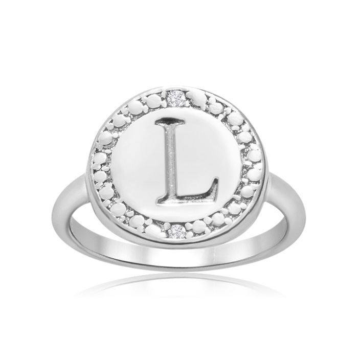 """L"" Initial Diamond Ring in Sterling Silver, J/K by SuperJeweler"
