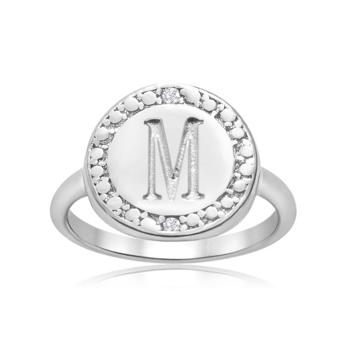 """M"" Initial Diamond Ring in Sterling Silver, J/K by SuperJeweler"